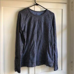 Lululemon restless sweater blue black white sz 13